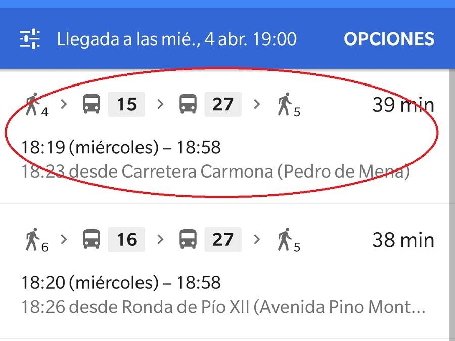 itinerario transporte maps