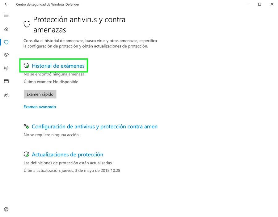 cómo recuperar archivos cuarentena Windows Defender historial