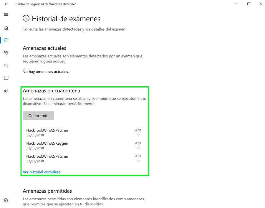 cómo recuperar archivos cuarentena Windows Defender cuarentena