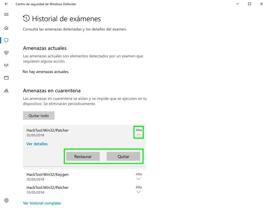 cómo recuperar archivos cuarentena Windows Defender restaurar