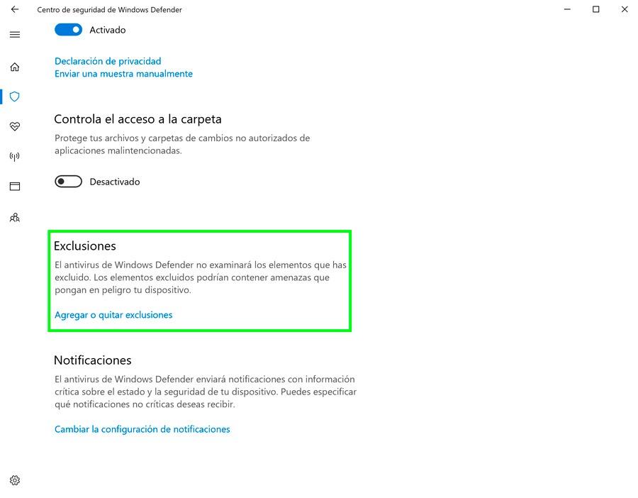 cómo recuperar archivos cuarentena Windows Defender exclusiones