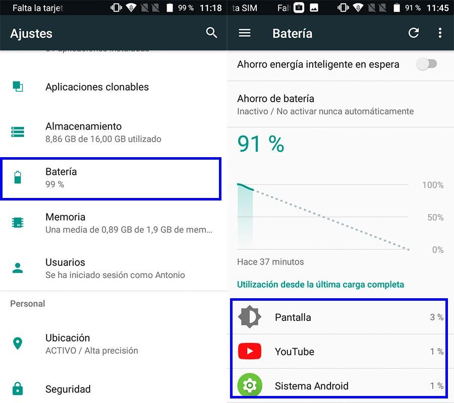 Cómo saber qué aplicaciones consumen más batería en tu móvil Android ajustes