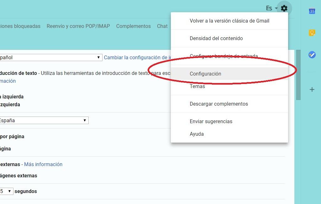 configuracion gmail