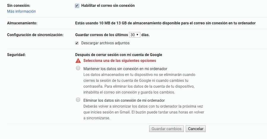 gmail sin conexion