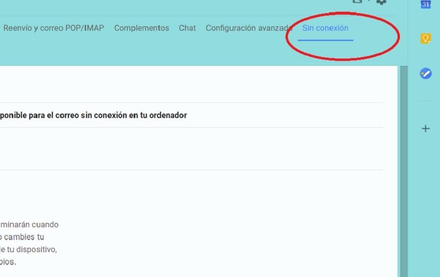 pestaña sin conexion gmail
