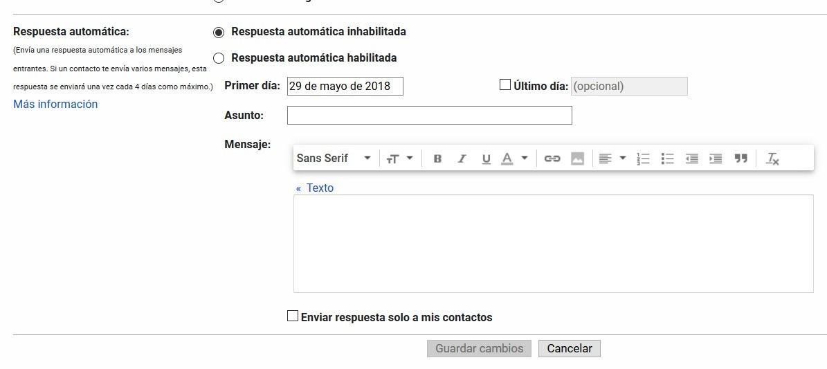Cómo crear respuestas automáticas en el correo de Gmail 1