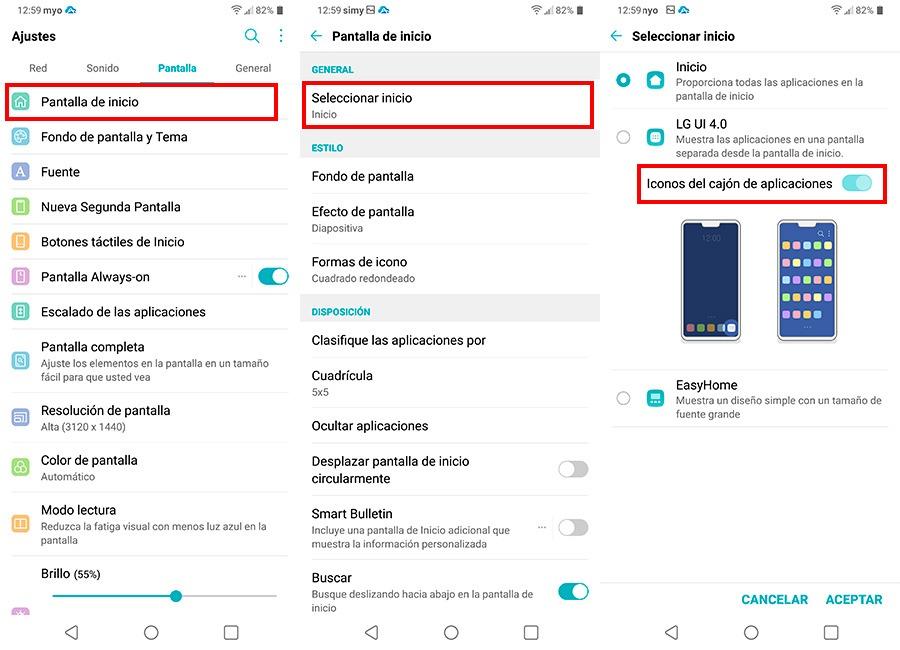 10 trucos para empezar a usar el LG G7 cajón de apps