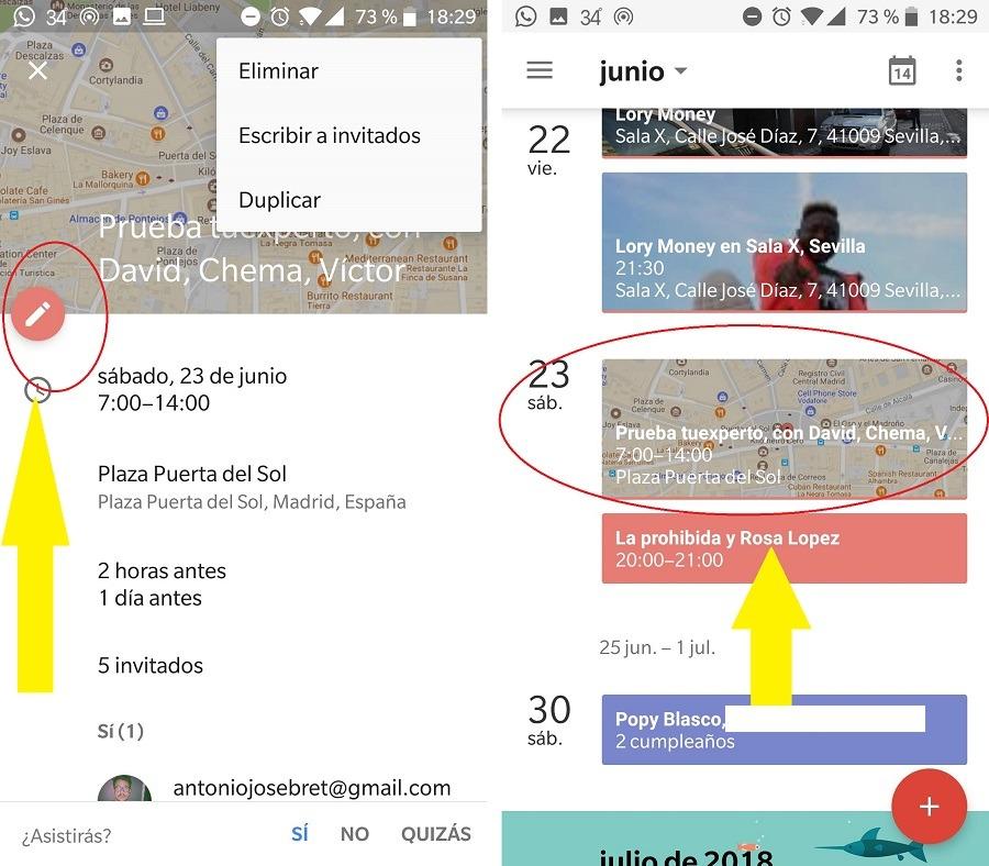 editar evento google calendar