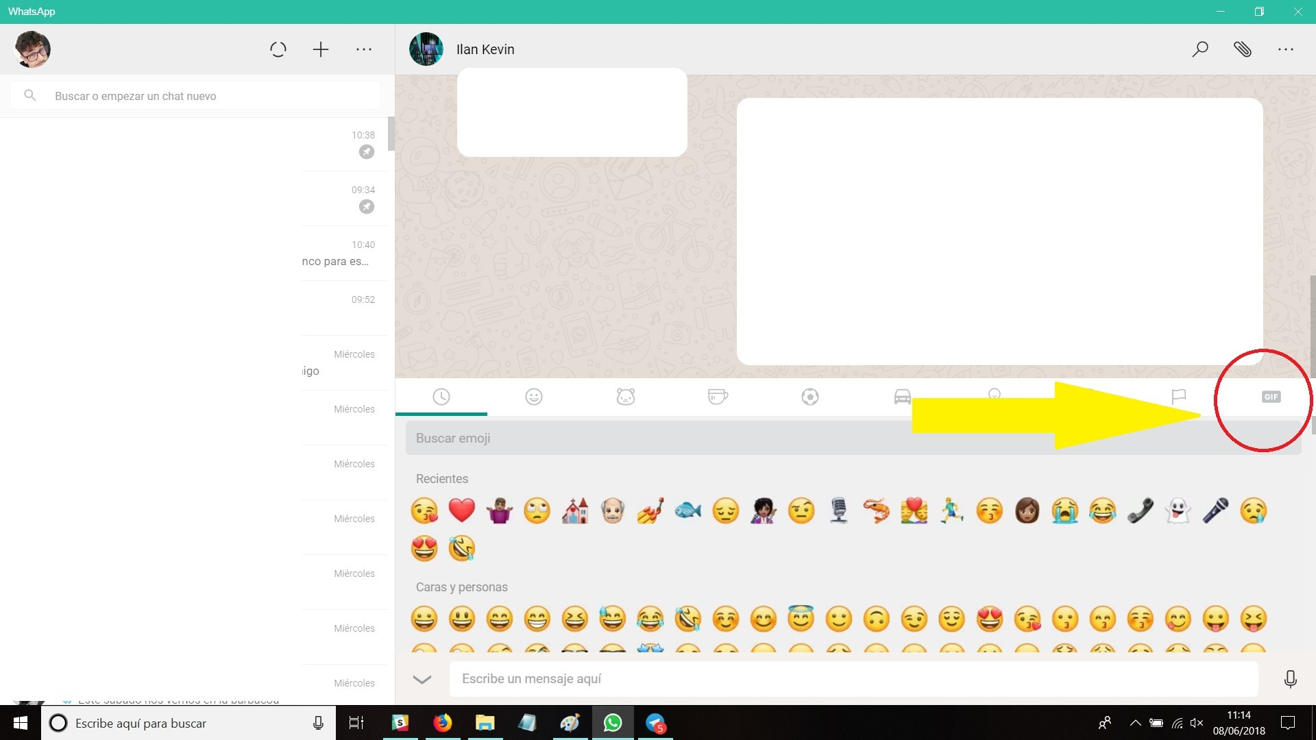 emoticono y gif whatsapp web