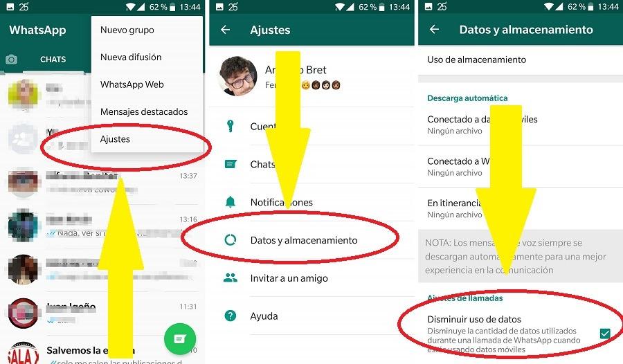 uso de datos llamadas whatsapp