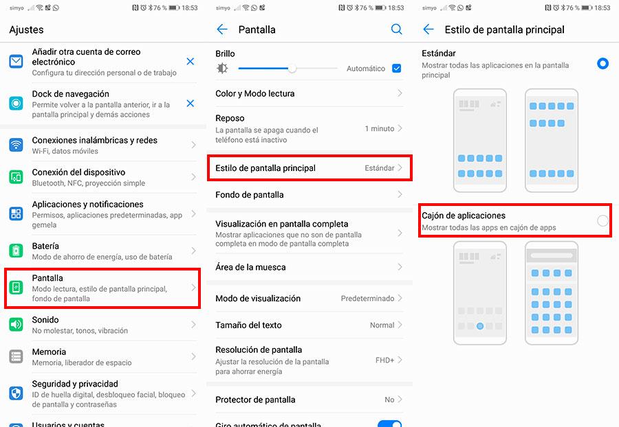 10 trucos para móviles Huawei con interfaz EMUI cajón de apps