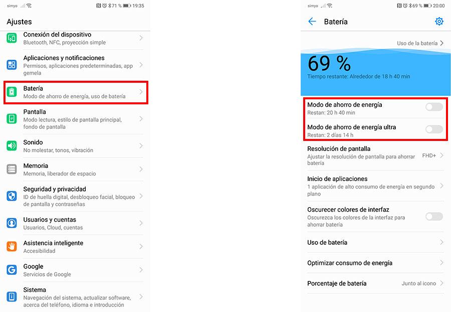10 trucos para móviles Huawei con interfaz EMUI batería