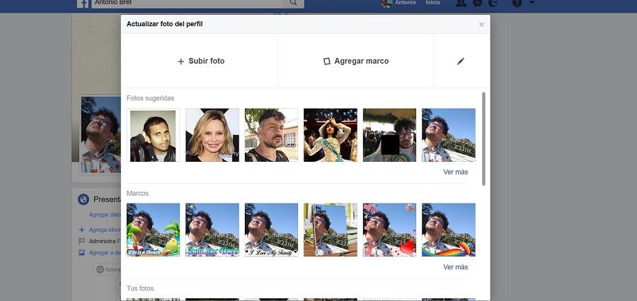 añadir marco facebook pc