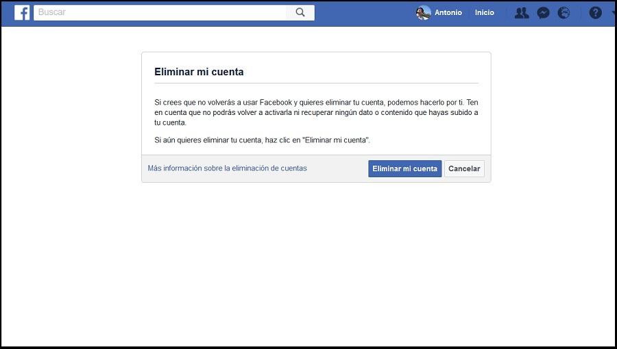 Cómo eliminar por completo tu cuenta de Facebook 2