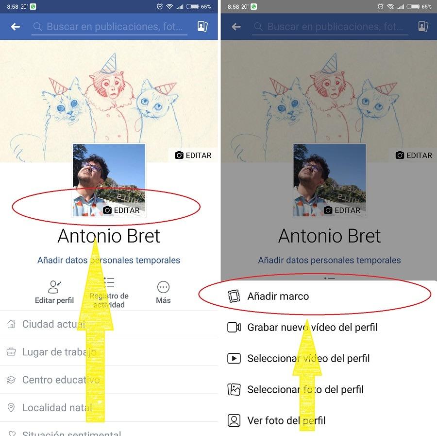 marco de facebook en movil 1