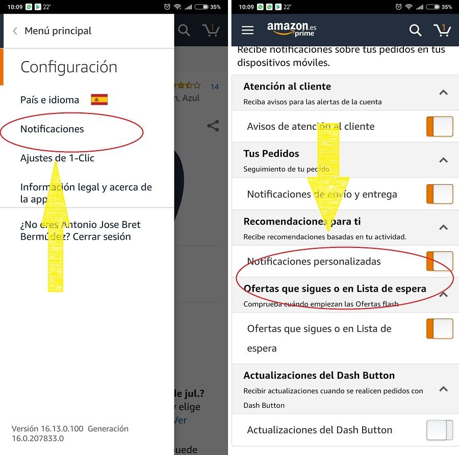 notificaciones amazon