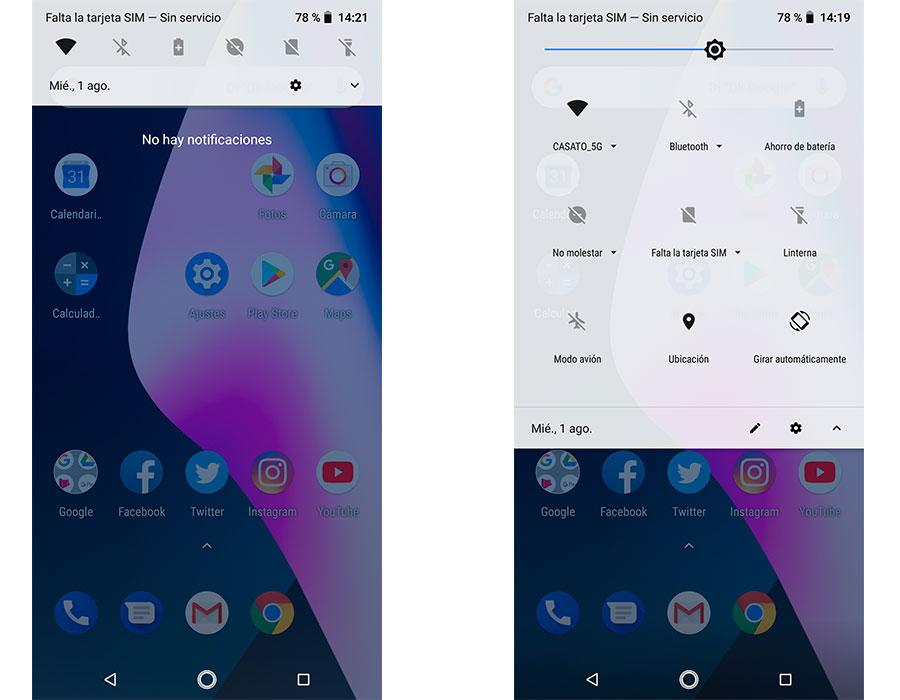 cómo poner el icono de GPS y otros útiles en el panel de notificaciones del móvil desplegar el panel