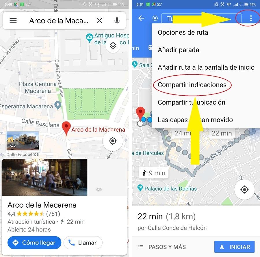 compartir indicaciones google maps
