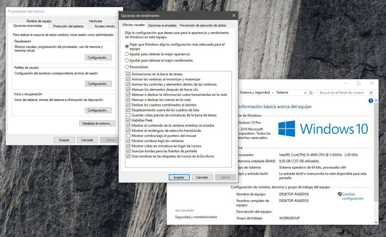 efectos visuales windows