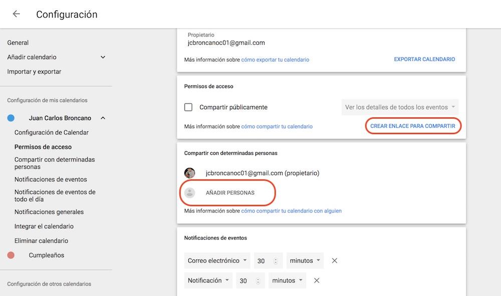 compartir calendario google 1