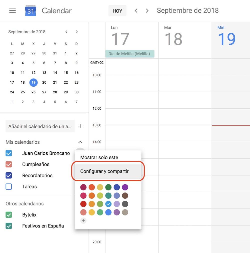 compartir calendario google 2