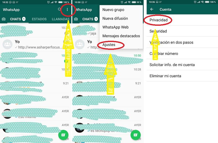 configuracion privacidad whatsapp