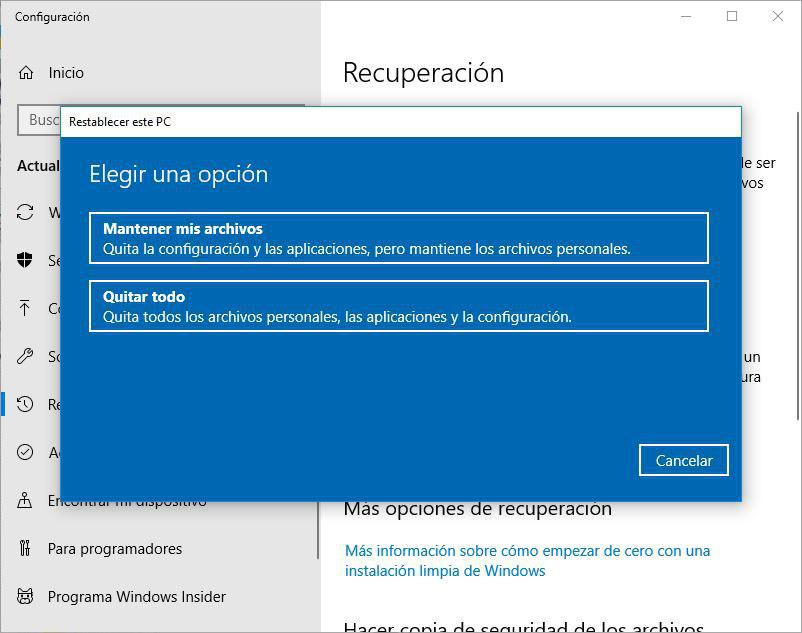 restaurar windows 10 2