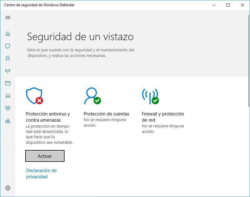 como desactivar el antivirus de windows 10