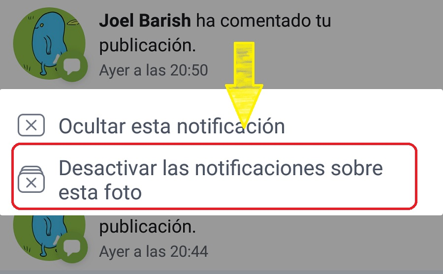 desactivar notificaciones facebook app