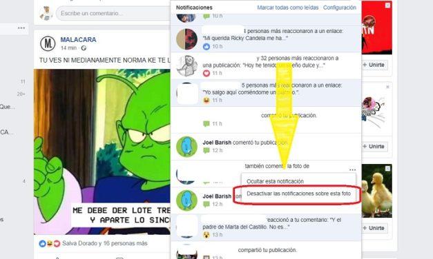Cómo desactivar las notificaciones de una publicación en Facebook