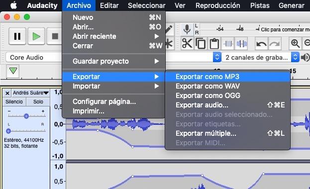 exportar mp3