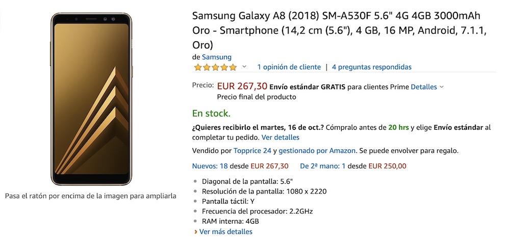 oferta samsung galaxy a8 2018 amazon