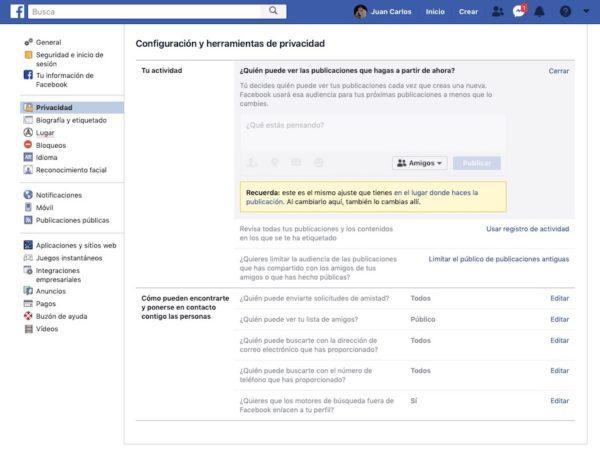 ajsutes de privacidad facebook