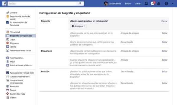biografia y etiquetado facebook