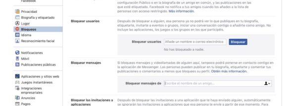 bloquear mensajes de facebook