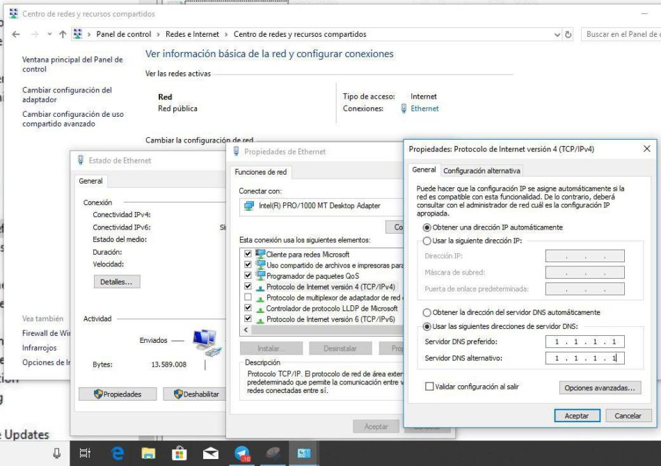 mejorar wifi en windows 10 dns