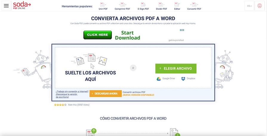 convertidor de pdf a word en linea sin correo