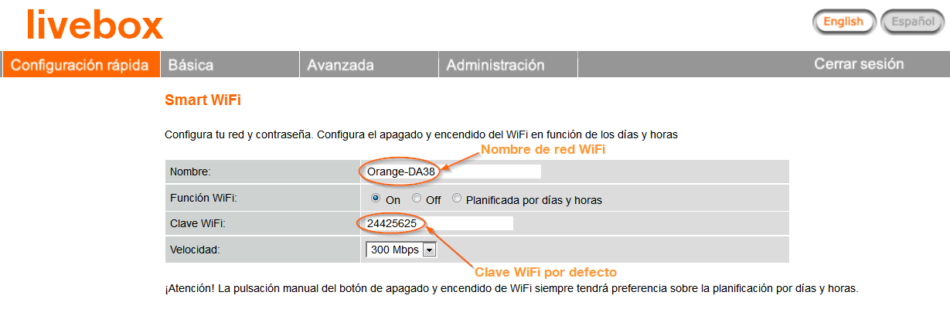 cambiar contraseña wifi orange