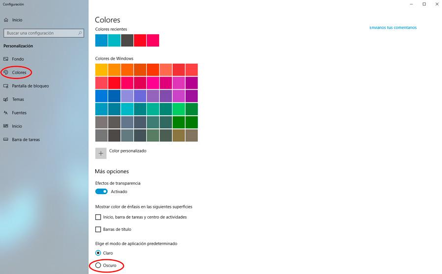 cómo activar el tema oscuro en Windows 10 colores
