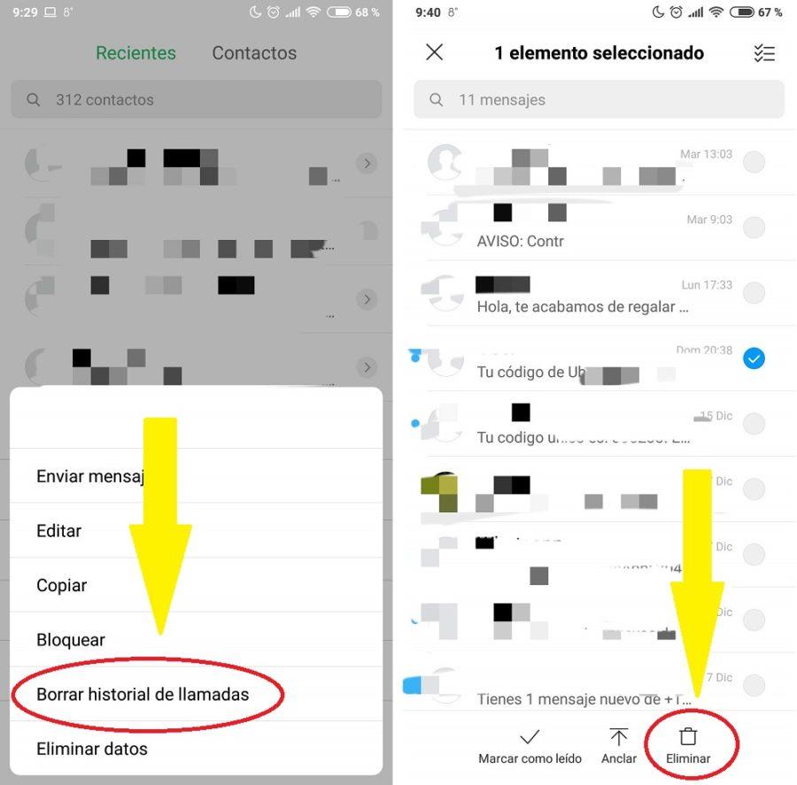 historial de llamadas y mensajes sms