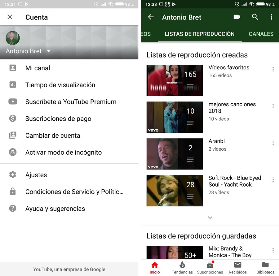 mi canal youtube app