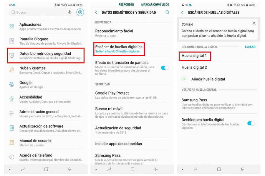 cómo registrar y gestionar el lector de huellas en un móvil Samsung ajustes