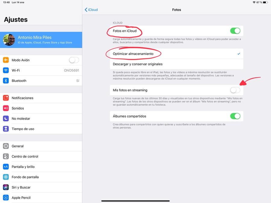 Cómo elegir datos iCloud fotos