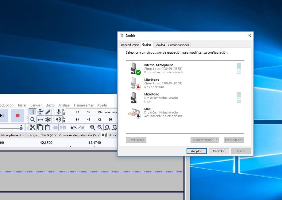 grabar audio interno windows 10