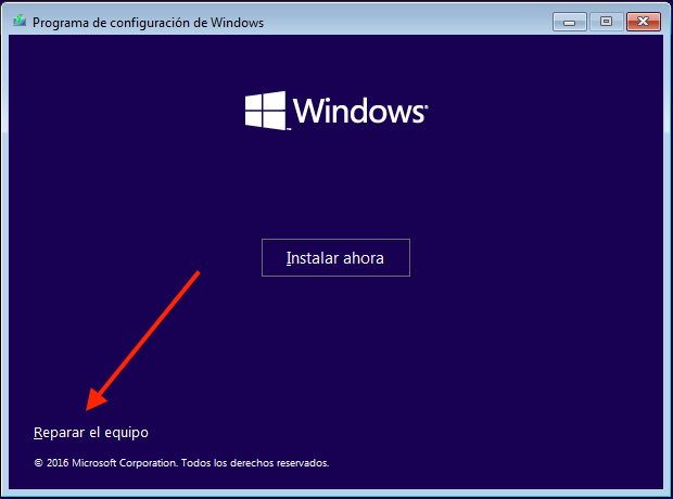 reparar el equipo windows 10