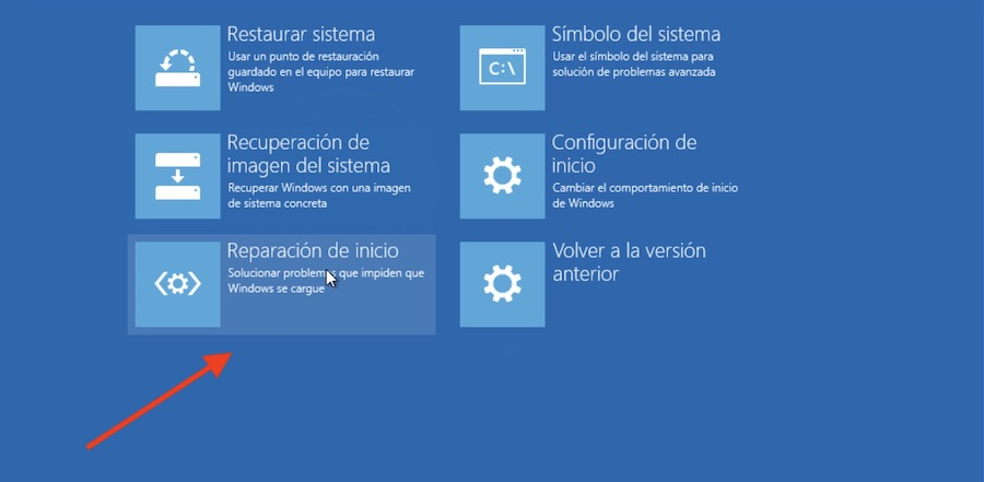 reparar inicio windows 10 2