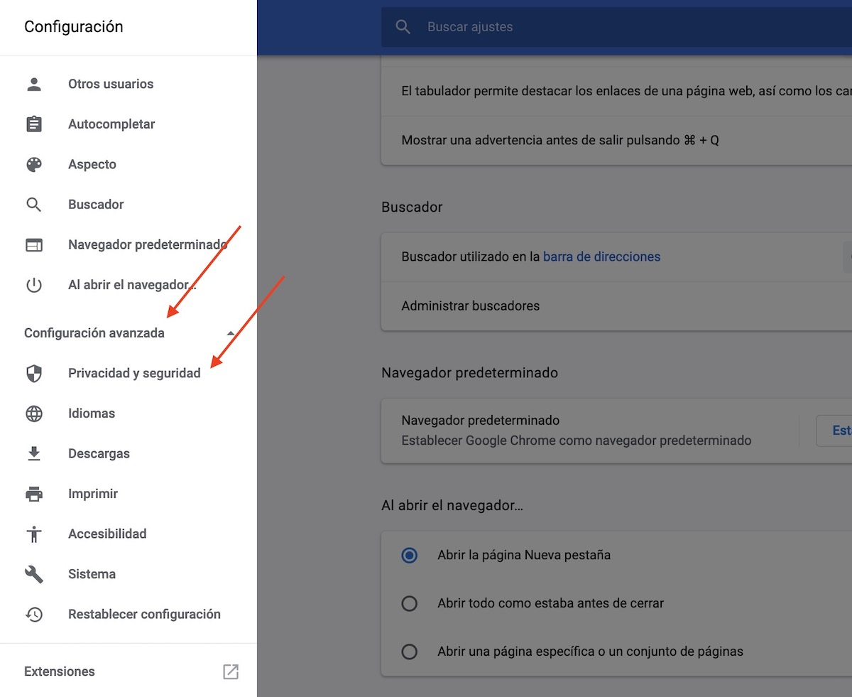 bloquear páginas web google chrome 2