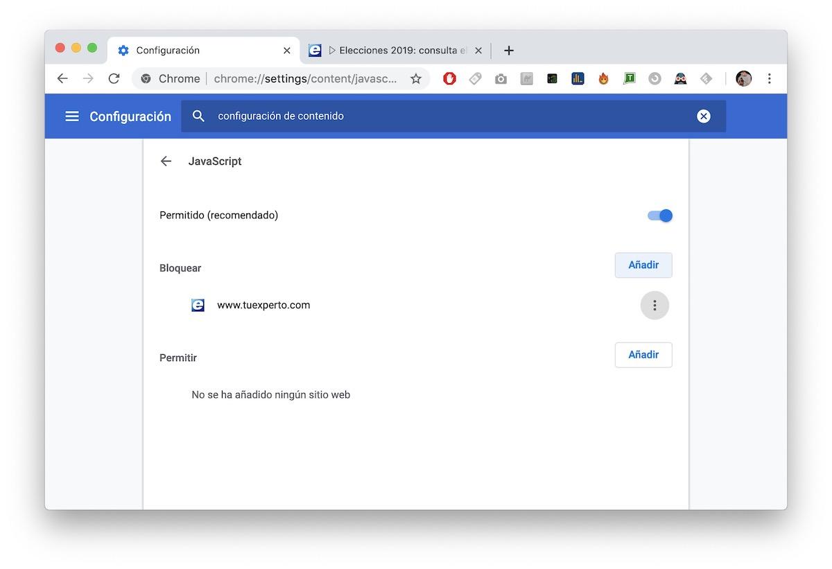 bloquear páginas web google chrome 4