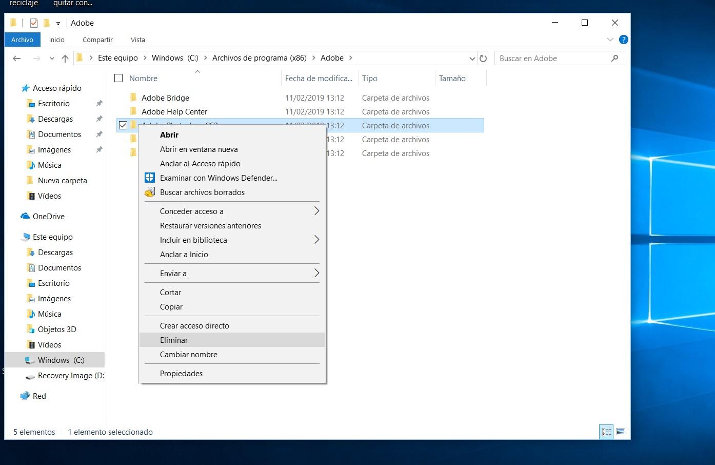 desinstalar programa que no se deja windows 10 2