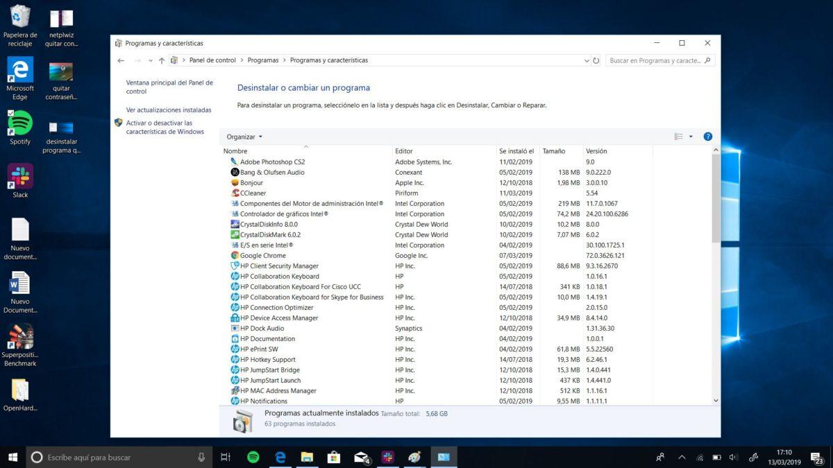 desinstalar un programa que no se deja en windows 10